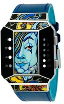 01 The One 01TheOne Unisex SC116W1 Split Screen Art Edition White LED Blue Leather Watch