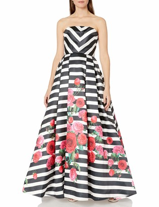 Mac Duggal Women's Strapless Chevron and Floral Gown