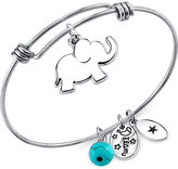 Unwritten Elephant Charm and Manufactured Turquoise (8mm) Adjustable Bangle Bracelet in Stainless Steel