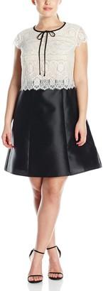 ABS by Allen Schwartz Women's Plus-Size Short Sleeve Lace and Tafetta Dress