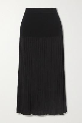 Altuzarra Dean Pleated Stretch-knit Midi Skirt - Black