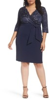 Alex Evenings Plus Size Women's Mixed Media Surplice Sheath Dress