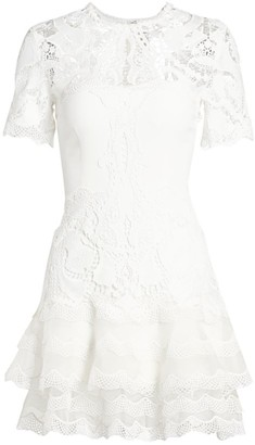 Jonathan Simkhai Lace Applique Illusion Mini Dress