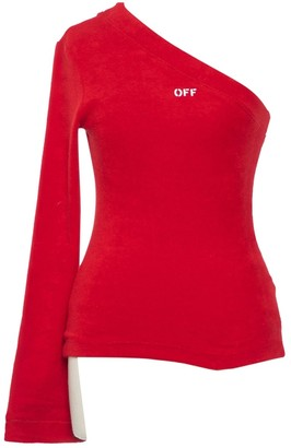 Off-White Red Cotton Top for Women