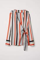 H&M Striped Wrapover Blouse