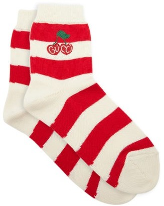 Gucci Cherry-logo Striped Cotton Socks - Red Stripe