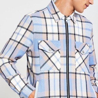 River Island Mens Blue long sleeve check zip front over shirt