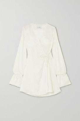 ART DEALER Naomi Satin-jacquard Wrap Mini Dress - White
