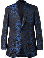 Richard James Blue Slim-fit Camouflage Silk-jacquard Tuxedo Jacket - Blue