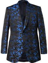Richard James Blue Slim-Fit Camouflage Silk-Jacquard Tuxedo Jacket