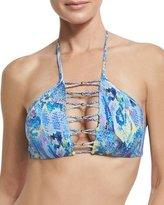 Pilyq High-Neck Braided Swim Top, Blue
