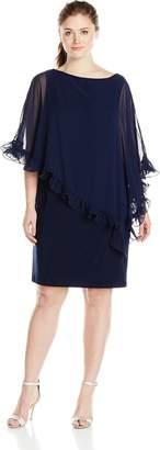 Xscape Evenings Women's Plus-Size Short Ity with Ruffle Trim Chiffon Overlay