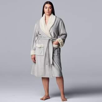 Vera Wang Plus Size Simply Vera Luxe Plush Wrap Robe