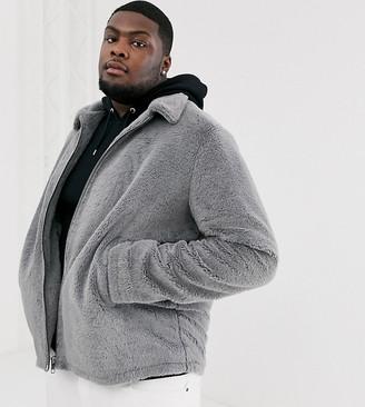 ASOS DESIGN Plus faux fur jacket in grey