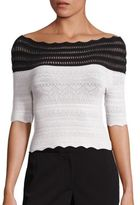 Yigal Azrouel Two-Tone Off-The-Shoulder Knit Top