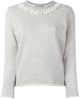 Comme des Garcons pearled trim sweatshirt - women - Cotton - XS