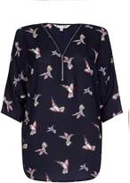 Yumi Bird Printed Zip Shirt