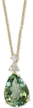 "Effy Green Quartz (9-5/8 ct. t.w.) & Diamond (1/5 ct. t.w.) 18"" Pendant Necklace in 14k Gold"