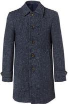 Hackett Donegal Herringbone Wool Coat - Navy