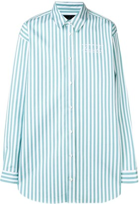 Martine Rose Logo Embroidered Candy Stripe Shirt