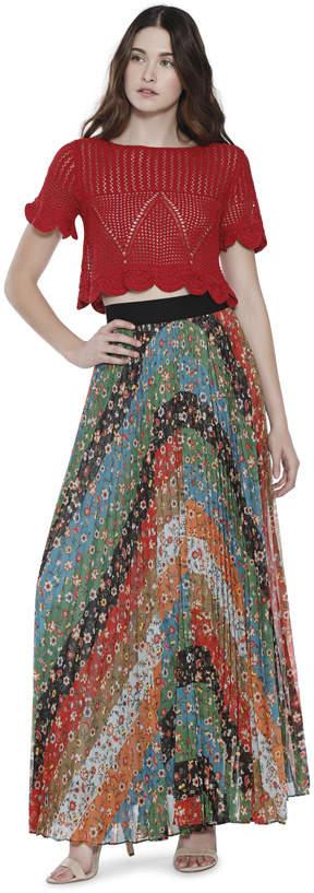 Alice + Olivia Katz Wide Band Sunburst Pleat Maxi Skirt