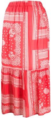 Semi-Couture Bandana-Print Maxi Skirt