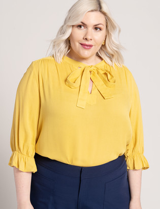 ELOQUII Bow Blouse with Puff Sleeve