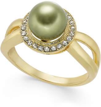 Charter Club Pave & Imitation Pearl Halo Split Ring