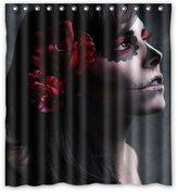 "Custom Shower Curtains Custom Print Design Art Girl Face Paint Sugar Skull And Rose Flower Shower Curtain Decoration Mildew Waterproof Polyester Fabric Bathroom Shower Curtain 66"" x 72"" Inch"