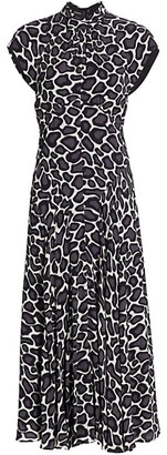 Proenza Schouler Abstract Spotted Highneck Dress