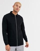Asos Design DESIGN longline jersey harrington jacket in black