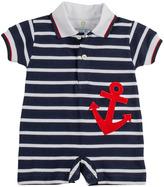 Florence Eiseman Anchor Pique-Knit Short-Playsuit, Navy/White, 3-9 Months
