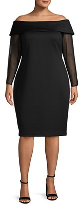 Calvin Klein Plus Off-The-Shoulder Sheath Dress
