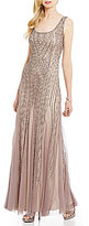 Adrianna Papell Scoop Neck Sleeveless Beaded Gown