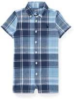 Ralph Lauren Plaid Linen-Cotton Shortall Blue Multi 3M