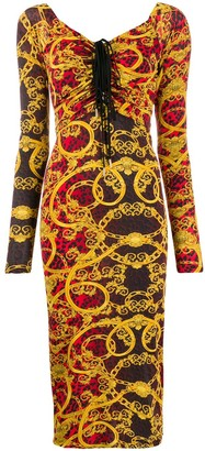Versace Baroque Leopard Print Ruched Dress