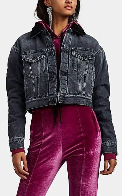 Marcelo Burlon County of Milan Women's Sherpa-Lined Crop Cotton-Blend Denim Jacket - Dark Gray