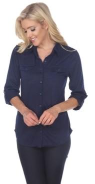 White Mark Women's Skylar Stretchy Button-Down Top