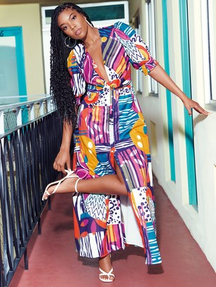 New York & Co. Cotton Voile Maxi Dress With Side Cutouts - Gabrielle Union Collection