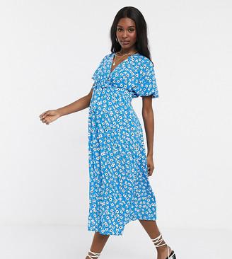 Asos DESIGN Maternity tie front midi tea dress in floral print
