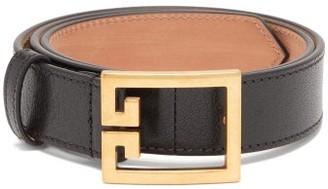 Givenchy Monogram-buckle Leather Belt - Womens - Black Gold