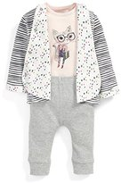 Mamas and Papas Baby Girls' 3 Piece Cot Bodysuit, Leggings and Quilted Jacket Clothing Set,pack of 3