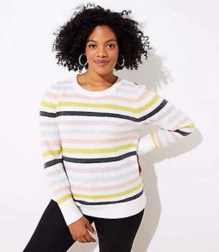 LOFT Plus Striped Puff Sleeve Sweater