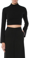 Donna Mizani Cape Sleeve Mock Neck Crop Top