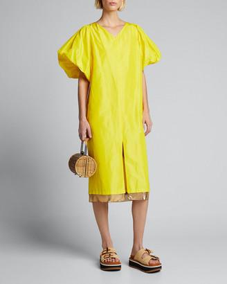 Rachel Comey Lurie V-Neck Puff-Sleeve Dress