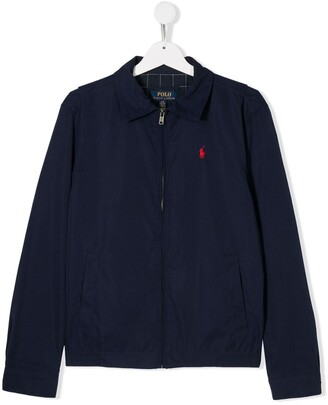 Ralph Lauren Kids TEEN embroidered logo windbreaker jacket
