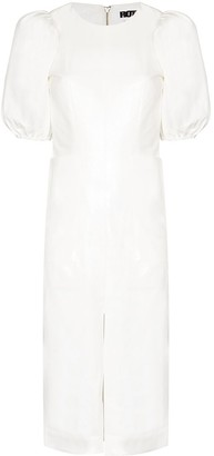 Rotate by Birger Christensen Katarina pouf sleeve midi dress
