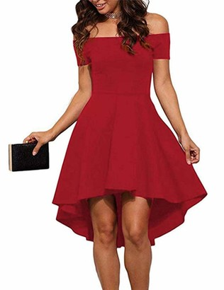 Seamido Women's Off The Shoulder High Low Party Cocktail Skater Dress Red