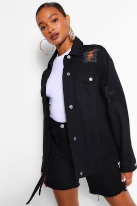 boohoo Oversized Distressed Denim Jacket