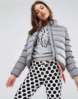 Love Moschino Tube Quilted Funnel Neck Jacket